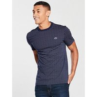 Lacoste Sportswear Dot Stripe T-Shirt, Navy, Size 8, Men