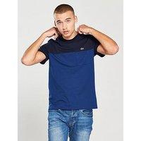 Lacoste Lacoste Sportswear Cut & Sew Pocket Detail T-Shirt, Mid Blue, Size 5, Men