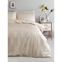 Ideal Home Noir Nights Deco Curve Jacquard Duvet Cover Set - Oyster