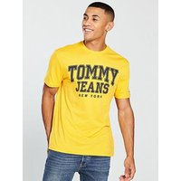 Tommy Jeans Essential College T Shirt, Yellow, Size Xl, Men