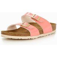 Birkenstock Sydney Narrow Two Strap Slide Sandal - Cream Coral, Cream/Coral, Size 7, Women