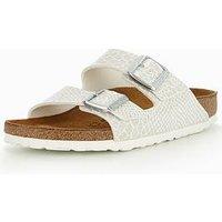 Birkenstock Arizona Narrow Two Strap Slide Sandal - White/Glitter, White, Size 5, Women