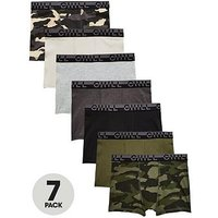 Boys, V by Very 7 Pack Camo Trunks, Multi, Size 6-7 Years