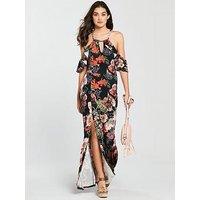 V By Very Petite Halter Neck Cold Shoulder Jersey Maxi Dress