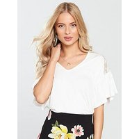 V by Very Lace Shoulder Detail Top - Ivory , Ivory, Size 16, Women