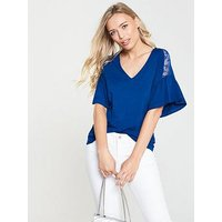 V by Very Lace Shoulder Detail Top - Blue, Blue, Size 10, Women