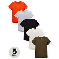 V by Very Boys Pack of 5 Short Sleeved T-Shirts - Multi, Multi, Size 7 Years