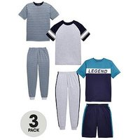 Boys, V by Very 3 Pack Legend Short Sleeve Pyjamas, Multi, Size Age: 9-10 Years