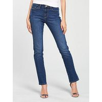 V by Very Ashton Mid Rise Slim Leg - Mid Wash, Mid Wash, Size 8, Inside Leg Regular, Women