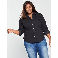 Levi's Plus Plus Western Denim Shirt - Dark Wash, Denim, Size 2X, Women