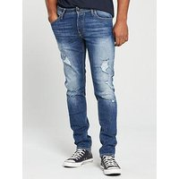 Jack & Jones Jack & Jones Intelligence Slim Fit Rip & Repair Glenn Jeans, Mid Wash, Size 30, Inside Leg Regular, Men