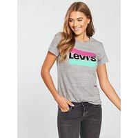 Levi's The Perfect Logo Top - Grey, Print, Size S, Women