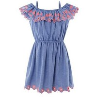 Accessorize Girls Chambray Embroidered Bardot Dress, Blue, Size 3-4 Years, Women