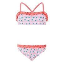 Accessorize Girls Paradise Pineapple Ruffle Bikini, Coral, Size Age: 7-8 Years, Women