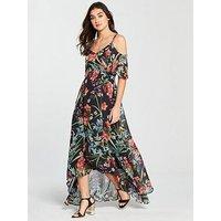 V by Very Floral Cold Shoulder Maxi Dress - Black, Black, Size 14, Women
