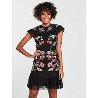 V by Very Embroidered Pleat Hem Dress - Black, Black, Size 10, Women