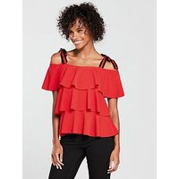V by Very Tiered Gro Grain Strap Top - Red, Red, Size 10, Women