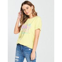 V by Very California Palm Tree T-shirt - Yellow, Yellow, Size 16, Women