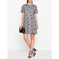 Mcq Alexander Mcqueen Swallow Print Babydoll Short Sleeve Jersey Dress - Grey