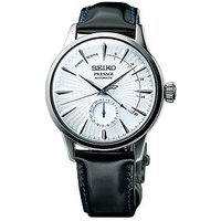 Seiko Seiko Presage Cocktail Time Silver and Blue Case and Black Leather Strap Mens Watch, One Colour, Men