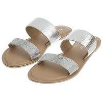 Accessorize Accessorize Dani Double Strap Flat Sandal, Silver, Size 40, Women