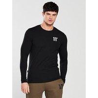 11 Degrees Ls Muscle Fit T-shirt, Black, Size S, Men