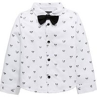 Mini V by Very Boys Printed Shirt And Bow Tie - White, White, Size Age: 9-12 Months