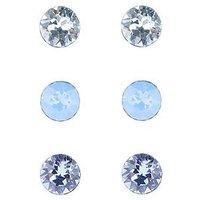 Accessorize Sterling Silver Swarovsk®i Stud Set of 3 - Blue, Blue, Women