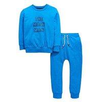 Boys, Mini V by Very Main Man Crew Neck Sweatshirt Set, Blue, Size Age: 4-5 Years