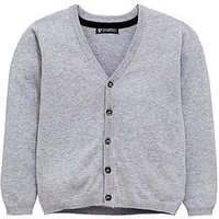 Boys, Mini V by Very Grey Knitted Cardigan, Grey, Size Age: 6-9 Months