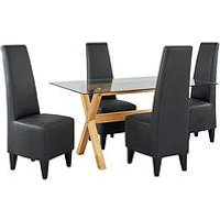 Very Venla 150 Cm Solid Wood And Glass Dining Table + 4 Manhattan Chairs MNV73