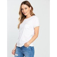 V by Very Pearl Pocket And Arm Detail T-shirt - White, White, Size 14, Women