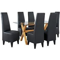 Venla 150 Cm Solid Wood And Glass Dining Table + 6 Manhattan Chairs (Arrives In One Delivery) MNV79