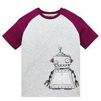 Boys, Mini V by Very 3D Robot Contrast Raglan Sleeve T-Shirt, Grey, Size Age: 3-4 Years