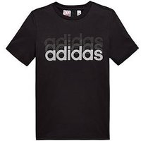 adidas Boys Linear Tee, Black, Size 13-14 Years
