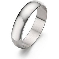 Love GOLD 9 Carat White Gold D-Shaped 5mm Wedding Band, Size R, Women
