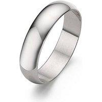 Love GOLD 9 Carat White Gold D-Shaped 5mm Wedding Band, Size Z, Women
