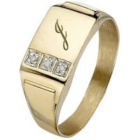 Love GOLD 9 Carat Yellow Gold 3 Point Diamond Set Initial Mens Signet Ring, Size R, Men