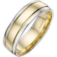Love GOLD 9 Carat 2 Colour Wedding Band 6mm, Size V, Women