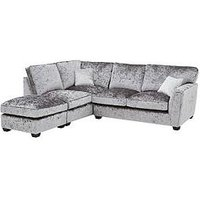 Product photograph showing Glitz Fabric Standard Back Left Hand Corner Chaise Sofa With Footstool