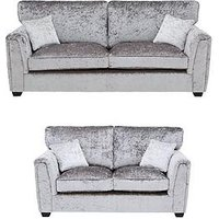 Product photograph showing Glitz Fabric Standard Back 3 Seater 2 Seater Sofa Set Buy And Save