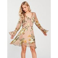 V by Very Fluted Sleeve Midi Dress - Blush Floral, Blush Floral, Size 10, Women
