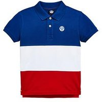 North Sails Boys Short Sleeve Colourblock Polo Top, Navy/White/Red, Size 12 Years