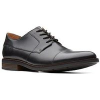 Clarks Becken Wide Fit Plain Leather Lace Up Shoe - Black Leather