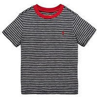 Ralph Lauren Boys Short Sleeve Fine Stripe T-shirt, Navy Multi, Size 14-16 Years=L
