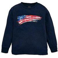 Ralph Lauren Boys Long Sleeve Flag T-Shirt - Navy, Navy, Size 14-16 Years=L