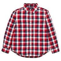 Ralph Lauren Boys Short Sleeve Gingham Shirt, Red Multi, Size 18-20 Years=Xl