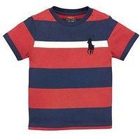 Ralph Lauren Boys Short Sleeve Big Pony Stripe T-shirt, Red Multi, Size 7 Years