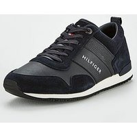 Tommy Hilfiger Tommy Hilfiger Iconic Leather Suede Mix Runner, Midnight, Size 7, Men