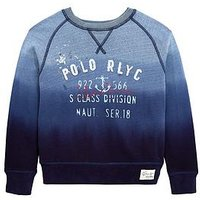 Ralph Lauren Boys Printed Terry Sweat Top, Blue Multi, Size 4 Years